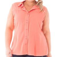 71fc068d151e6 ... Camisa Confidencial Extra Plus Size Regata De Sarja Com Botões Feminina  - Feminino-Coral