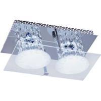 Plafon Glacial Cristal Led 15X25Cm 2X10W 127V Acrílico Jateado Com Cristais Bronzearte