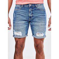 Bermuda Em Jeans Escuro Com Puídos E Barra Dobrada