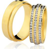 Aliança Kumbayá Lisa Saturno Em Ouro 18K Com 6,5 Mm De Largura Anatômica Com Diamantes