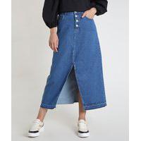 Saia Jeans Feminina Longa Com Fenda E Botões Azul Escuro