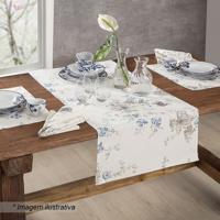 Centro De Mesa Panamã¡ Floral- Branco & Azul- 150X50Csultan