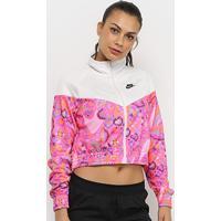 Jaqueta Nike Sportswear Cropped Feminina - Feminino-Rosa