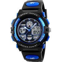 Relógio Infantil Skmei Anadigi Masculino - Masculino-Preto+Azul