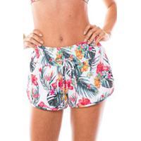 Saída De Praia Shorts Com Ilhós Duna Casual Flor Tropical - Feminino-Branco+Rosa