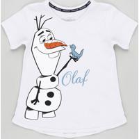 Blusa Infantil Olaf Frozen Com Glitter Manga Curta Lilás
