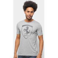 Camiseta Puma Ferrari Big Shield Masculina - Masculino-Cinza