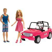 Boneca Barbie E Boneco Ken Com Automóvel - Veículo De Praia - Mattel