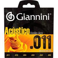Encordoamento Para Violão Gespw Serie Acústico Aço 0.11 Giannini