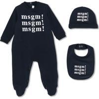 Msgm Kids Pijama Com Estampa De Logo - Azul