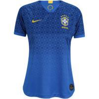 Camisa Da Seleção Brasileira Ii 2019 Nike - Torcedora - Feminina - Azul/Amarelo