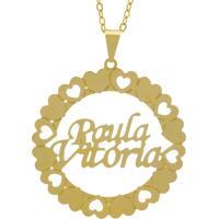 Gargantilha Horus Import Pingente Manuscrito Paula Vitória Banho Ouro Amarelo
