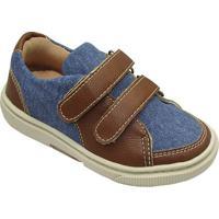 Tênis Jeans Com Recortes - Azul & Marrom- Oliveroliver