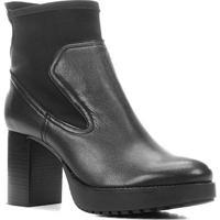 Bota Couro Shoestock Cano Curto Meia Pata Feminina - Feminino-Preto