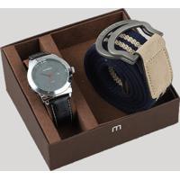 Kit De Relógio Analógico Mondaine Masculino + Cinto - 99018G0Mvnh1K Prateado - Único