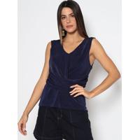 Blusa Texturizada Com Drapeado - Azul Marinho- Ennaenna