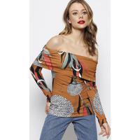 Blusa Ciganinha Canelada Com Tag- Marrom Claro & Branca