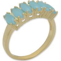 Anel Navetes Com Zircônias Azul Turquesa E Banho Em Ouro 18K