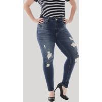 Calça Jeans Feminina Sawary Cigarrete Com Rasgos Plus Size Azul Escuro