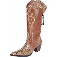 Bota Texana Capelli Boots Bordada Castor