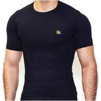 Camiseta Manga Curta Compresseção Masculino - Masculino-Preto