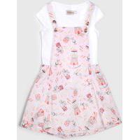 Conjunto 2Pçs Carinhoso Curto Infantil Floral Branco/Rosa