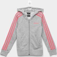 Jaqueta Moletom Infantil Adidas Yg 3S Fz Feminina - Feminino-Cinza+Pink