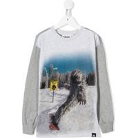 Molo Kids Moletom Yeti Snowboard Com Estampa Gráfica - Cinza