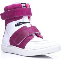 Tênis Rockfit Van Halen Em Couro Branco E Pink