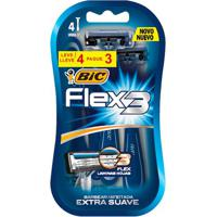 Kit Aparelho De Barbear Bic Flex 3 Lâminas Premium 4 Unidades