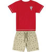 Conjunto Infantil Estamos Girafa Vermelho