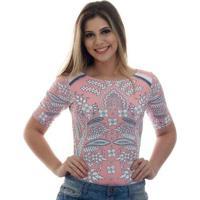 Blusa Ficalinda Meia Manga Proteção Uv Fashion 50+ Feminina - Feminino-Rosa+Branco