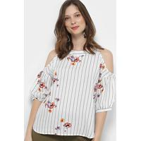 Blusa For Why Feminino Listrada Floral Recorte Ombros Feminina - Feminino-Branco+Preto