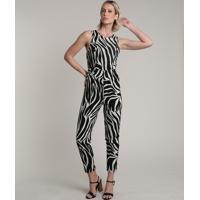 Macacão Feminino Estampado Animal Print Zebra Com Vazado Sem Manga Kaki Claro