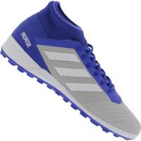 Chuteira Society Adidas Predator 19.3 Tf - Adulto - Cinza Cla/Azul