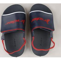 Chinelo Slide Infantil Rider Com Elástico E Velcro Azul Marinho