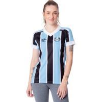 Camisa Feminina Umbro Grêmio Oficial 1 2021 Azul Celeste/Preto - P