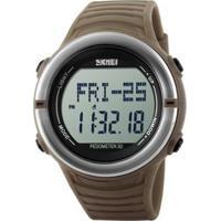 Relógio Skmei Digital Pedômetro Masculino - Masculino-Marrom+Prata