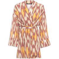 Vestido Kimono Ikat Rum - Bege