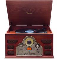 Toca Discos Raveo Tenor Madeira Bivolt Bluetooth Usb E Sd Rádio Fm Cd