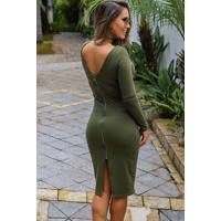 Vestido Coquetel Midi Zíper - Verde Musgo Único