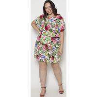 Vestido Floral Com Recorte- Verde & Rosa- Arsenalarsenal