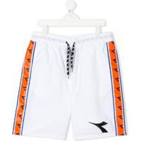 Diadora Junior Bermuda Esportiva Com Logo E Listras - Branco
