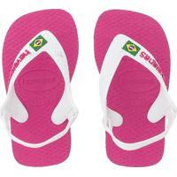 Chinelo Havaianas Baby Logo Brasil Rosa