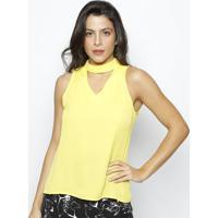Blusa Com Recorte Vazado- Amarela- Linho Finolinho Fino