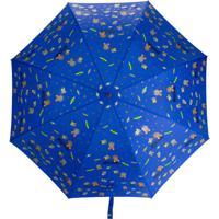 Moschino Guarda-Chuva Com Estampa De Logo E Tema Do Espaço - Azul