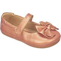 Sapato Boneca Em Couro Com Laã§O- Cobre- Kidskimey