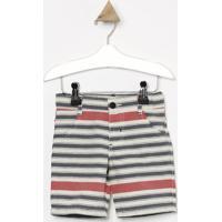 Bermuda Em Sarja Listrada- Off White & Azul Marinho-Look Jeans