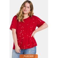 Blusa Tecido Estampada Vermelho