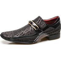 Sapato Social Calvest Com Metal Dourado Estampado 1930C229Esc- Preto